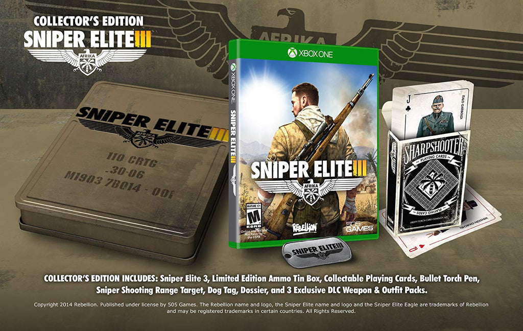 Rebellion Sniper Elite III Collector's Edition Video Game for Xbox One, ESRB-M17+, Multiplayer Mode - SNIPE3CE-XB1