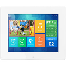 "Aluratek 8"" IPS LCD Digital Photo Frame, Touchscreen, 8GB Built-in Memory, White-  AWDMPF8BB"