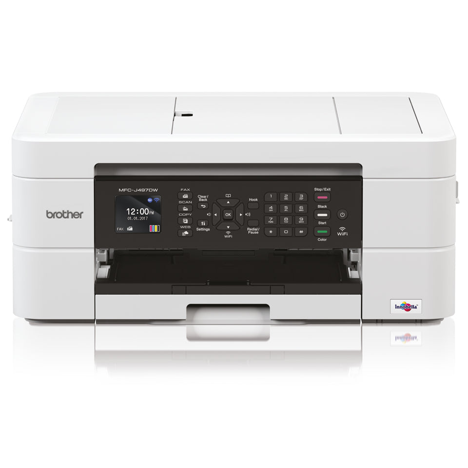 Brother MFC-J497DW Inkjet Multifunction Printer, 128MB Memory, Wireless, Automatic Duplex Print, Color LCD Display - MFC-J497DW