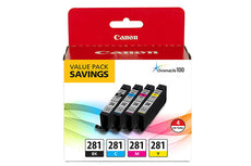 Canon CLI-281 Ink Cartridge Value 4 Pack - Black, Cyan, Magenta, Yellow 2091C005