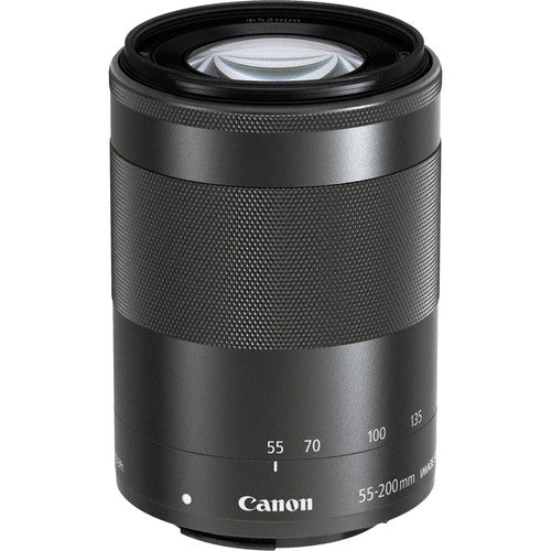 Canon 55 mm-200 mm, f/4.5-6.3 IS Zoom Lens for Canon EF-M, Black- 9517B002