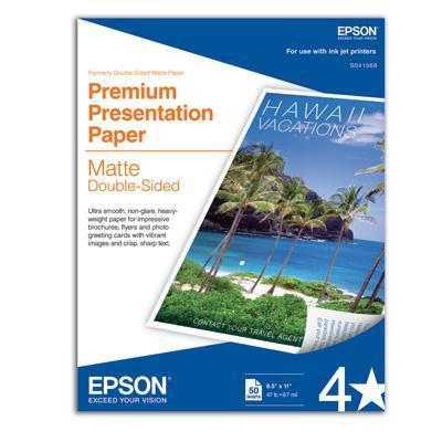 Epson Premium 50 Sheet Double Sided Presentation Paper, Matte Photo Paper  - S041568