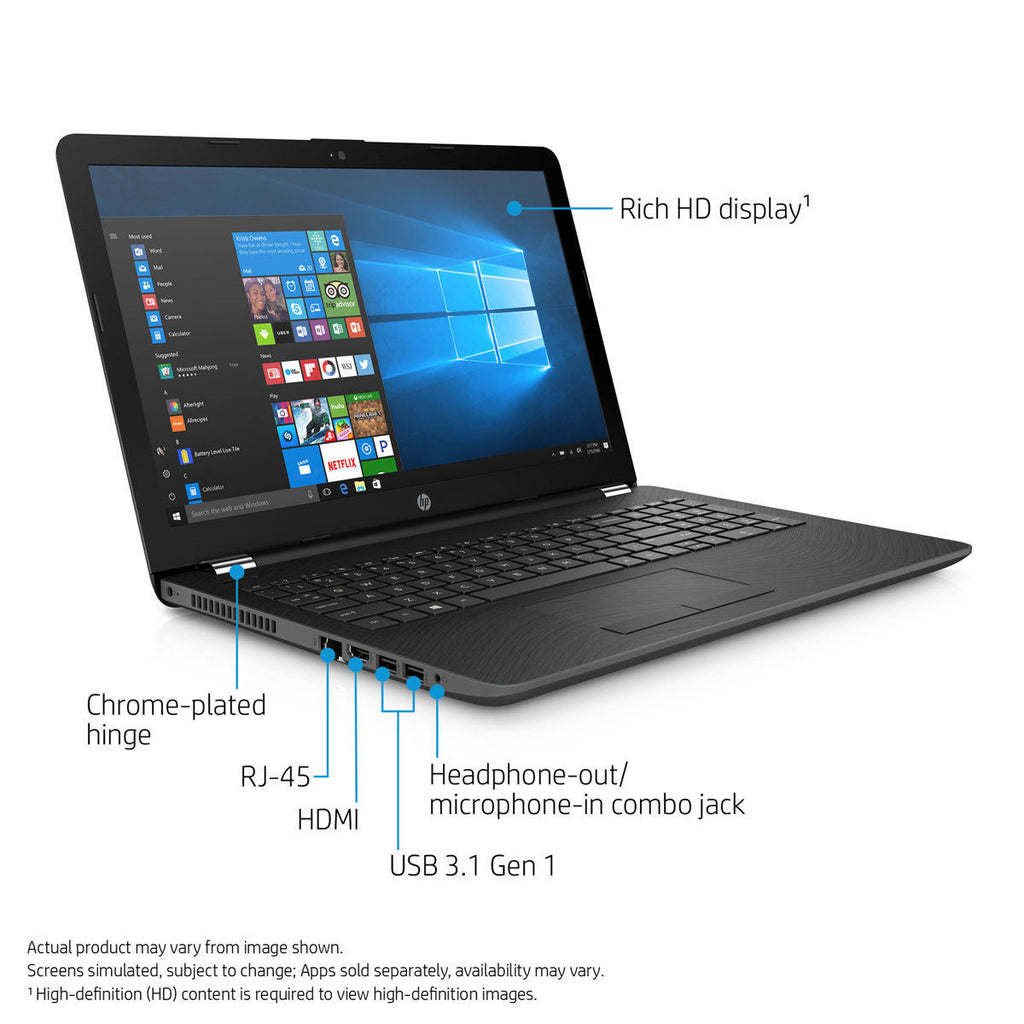 "HP 15-bs076nr Laptop 15.6"" HD Touchscreen LCD Notebook Intel Core i3 2.00GHz 8GB RAM 1TB SATA Windows 10 Home 1KV03UA#ABA"