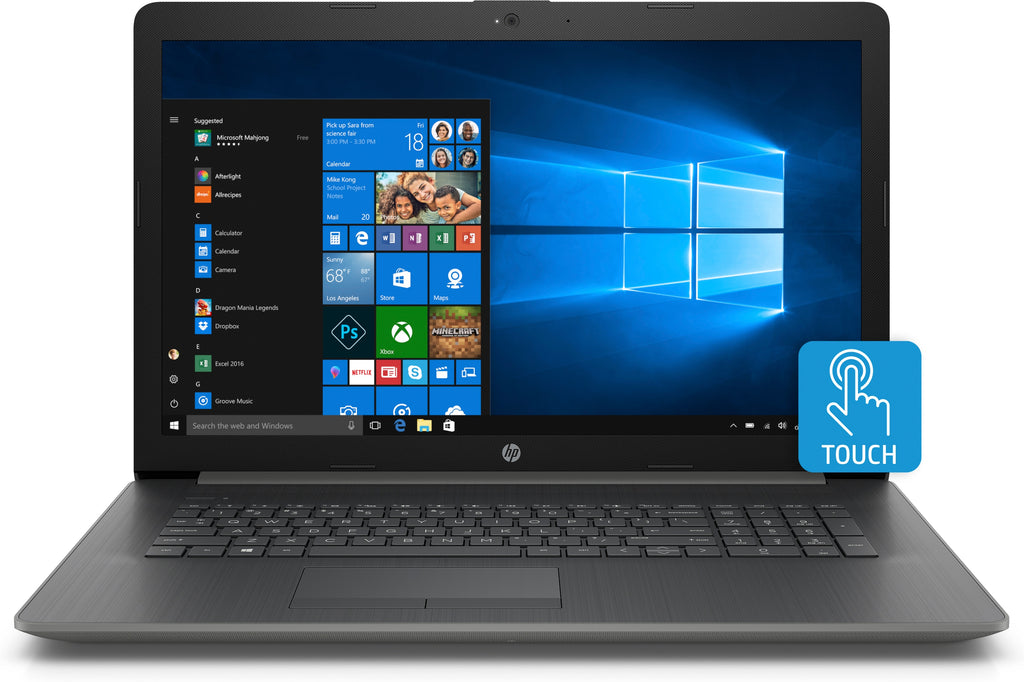 "HP 17-ca0044cl 17.3"" HD+ Touchscreen Laptop, AMD Ryzen 3 2300U, 2.0GHz, 12GB RAM,  1TB HDD, Windows 10 Home 64-bit- 4MC52UA#ABA"