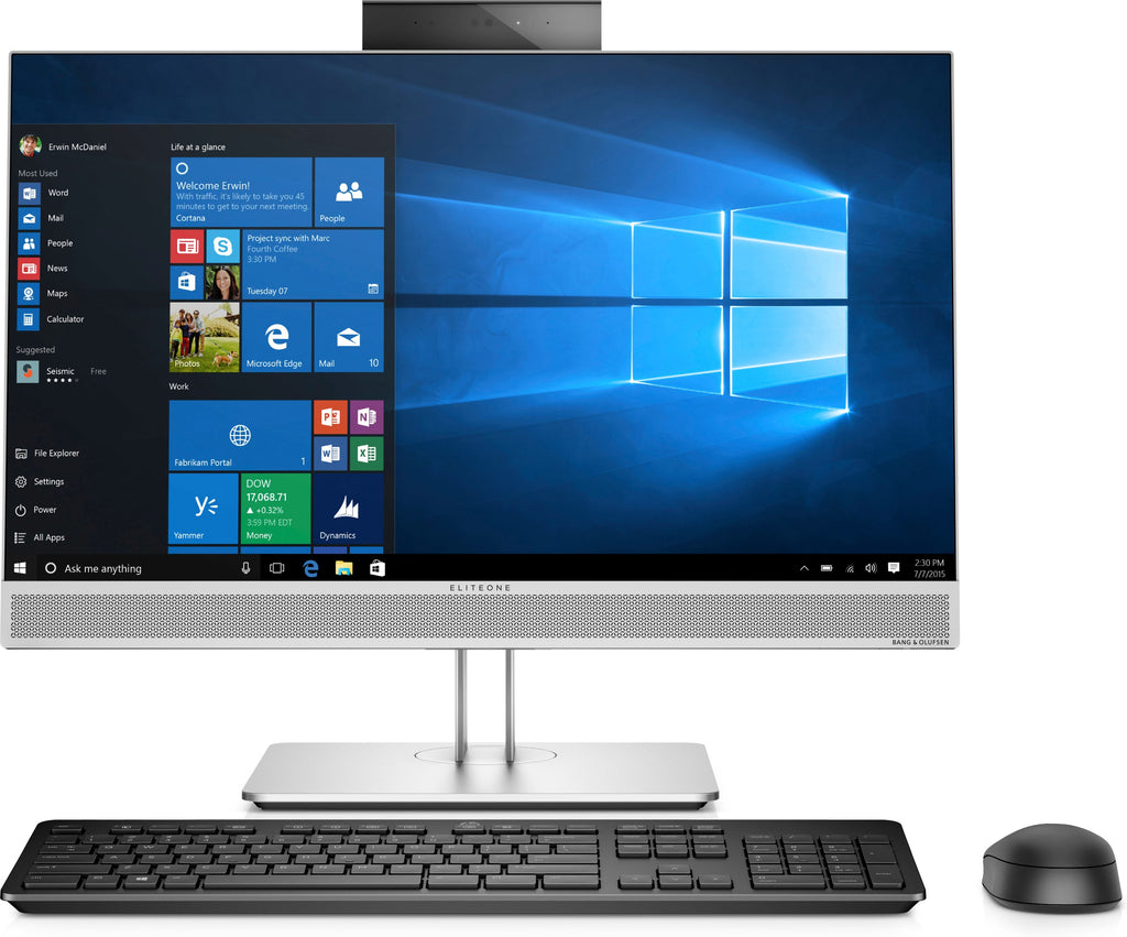 "HP EliteOne 800 G4 23.8"" Full HD (Non-Touch) All-in-One Business PC, Intel Core i5-8500, 3.00GHz, 8GB RAM, 128GB SSD, Windows 10 Pro 64-Bit - 7CR52U8#ABA"