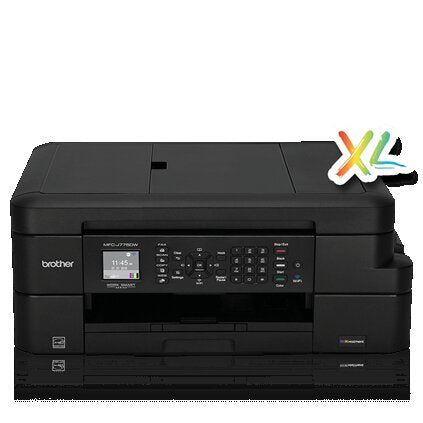 Brother MFC Inkjet All-in-One Color Printer, INKvestment Cartridges, 128MB Memory, Wireless, Color LCD Display - MFC-J775dwXL