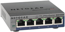 Netgear ProSafe Plus 5-Port Gigabit Unmanaged Ethernet Switch, 5 x RJ-45 Ports, Wall Mountable - GS105E-200NAS