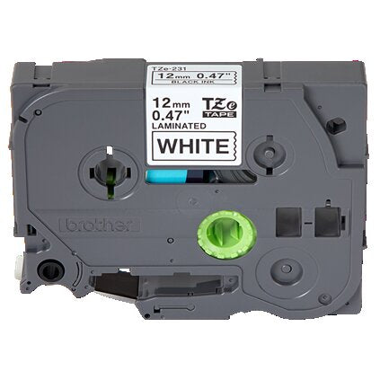 Brother TZe Laminated Tape Cartridge, Black on White Tape for P-Touch Labelers, Rectangle - TZE-231