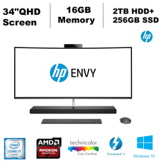 "HP Envy Curved 34-B017C All-in-One Desktop PC, 34"" QHD LED Display, Intel Core i7, 2.90 GHz, 16 GB RAM, 2TB HDD+256GB SSD, Windows 10 Home 64-Bit- Z5M17AA#ABA"