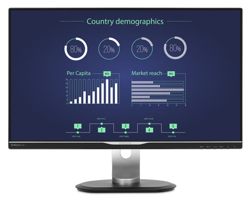 "Philips 25"" Quad HD LCD Computer Monitor, IPS LED Display, 16:9, 5ms, 20M:1-Contrast, 60Hz, Speakers, Black/Silver- 258B6QUEB-B"