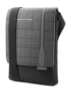 "HP UltraSlim Tablet Sling 12"" Carrying Case, Fold Over Flap, Cross Body Strap, Black/Gray - F7Z97AA"