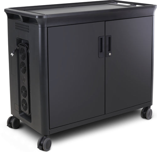 HP 30 Managed Charging Cart V2 for Notebooks or Tablets, 30 Notebook Storage Compartments, Lockable Rolling Cart, Black  - T9E85AA#ABA