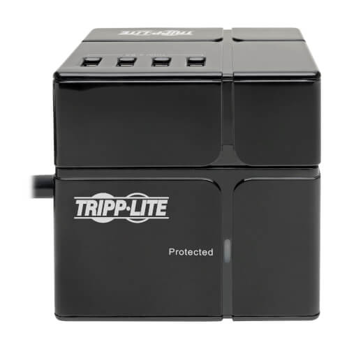 Tripp Lite 3-Outlet Power Cube Surge Protector, 6 USB-A Ports, 1800 VA, 540 Joules, 120V - TLP366CUBEUSBB