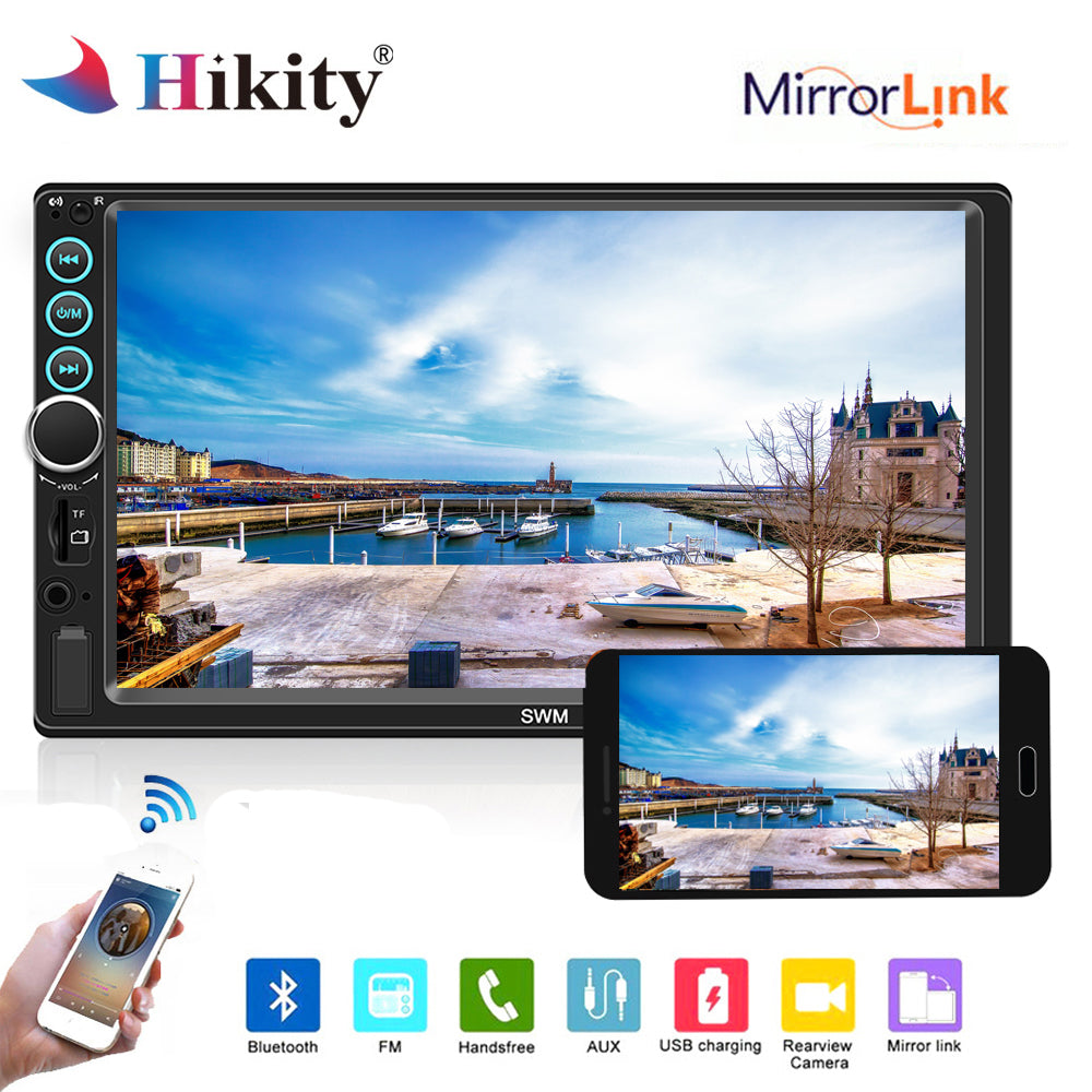 Backup Camera Hikity Bluetooth Car Stereo Double din 9 Inch Touch Screen Car FM Radio with USB//Bakcup Camera Input Supports Mirror Link for iOS//Android Phone