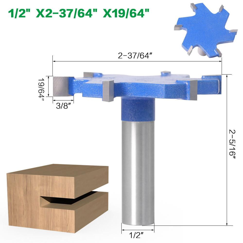 8mm or 12mm or 12.7mm Shank - Tungsten Carbide 6 Edge T Type Slotting Cutter Router Bit