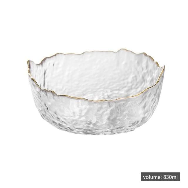 Irregular Gold Edged Glass Bowl
