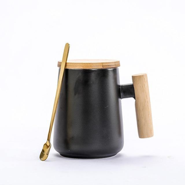Nordic Ceramic Coffee Mug with Wooden Handle & Spoon