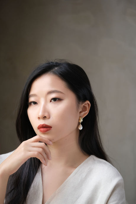 [RESTOCKED] Freshwater Pearl Bordo Earrings by Nuavo