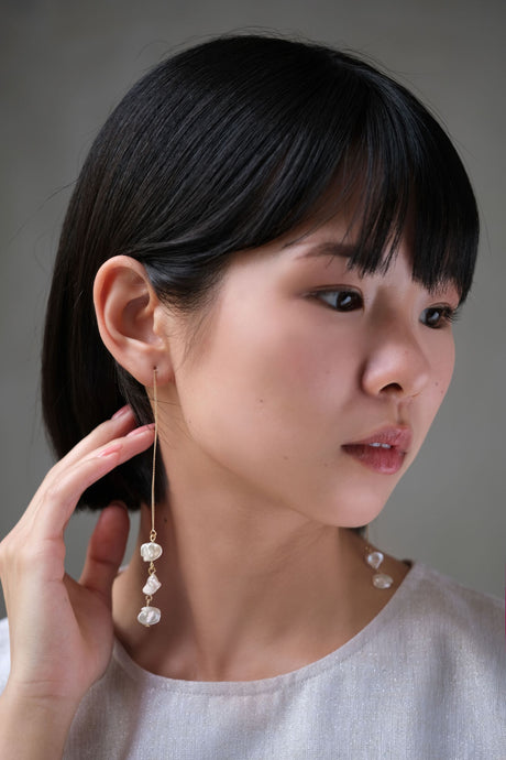 Freshwater Pearl Triple Earrings by Nuavo