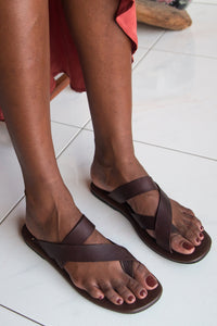 Cross Strap Leather Sandals - Women
