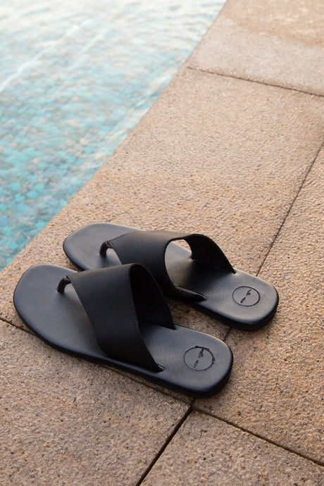 Black Fan Leather Sandals - Women