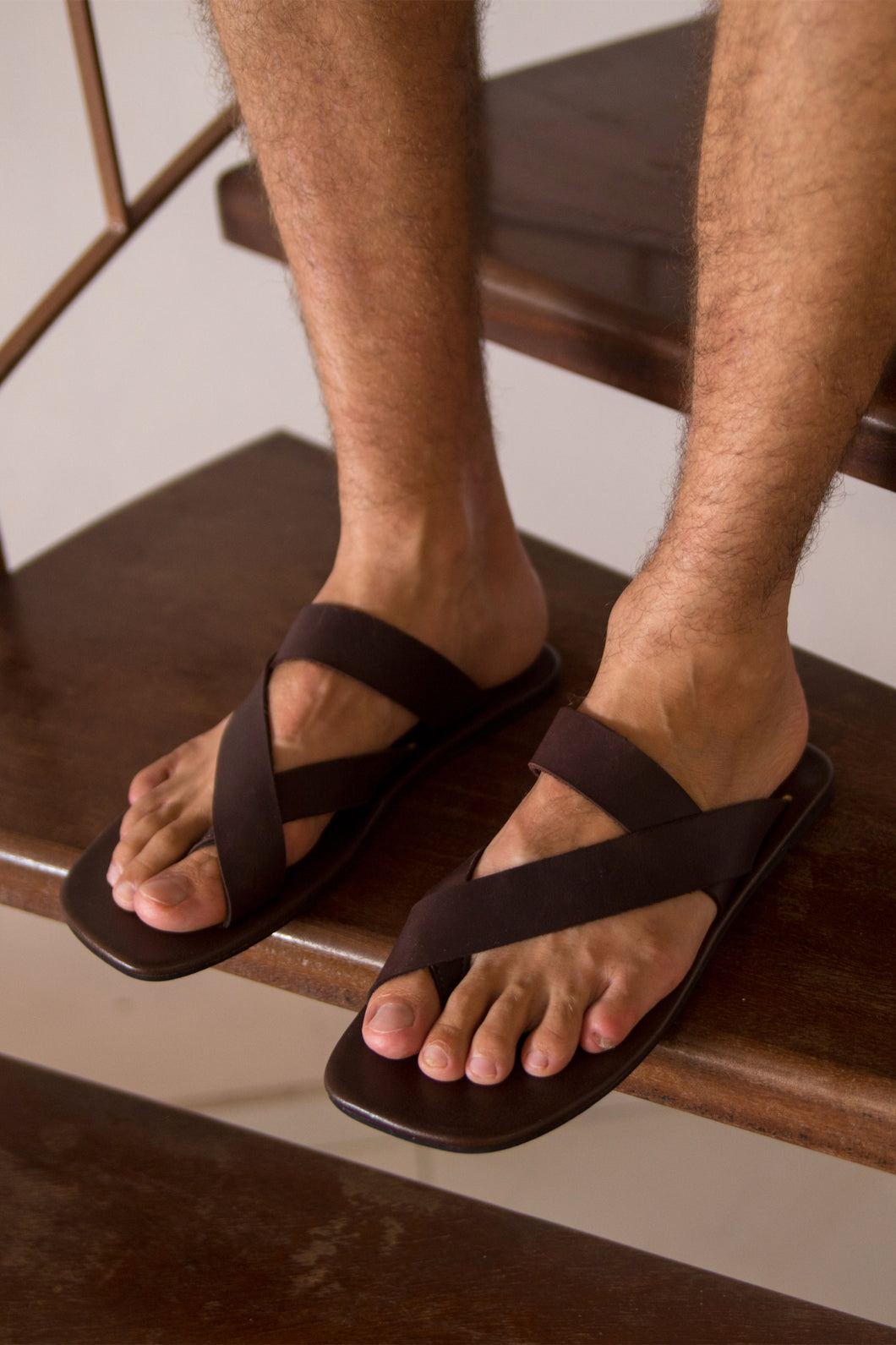 Cross Strap Leather Sandals - Men