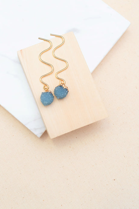 Wavy Cut Royal Blue Earrings by Nuavo