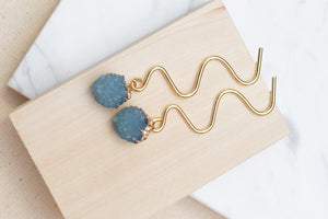 [NEW] Wavy Cut Royal Blue Earrings by Nuavo