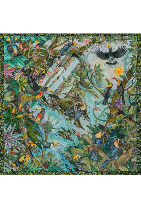 Tropical Toucan Silk Scarf by Nat