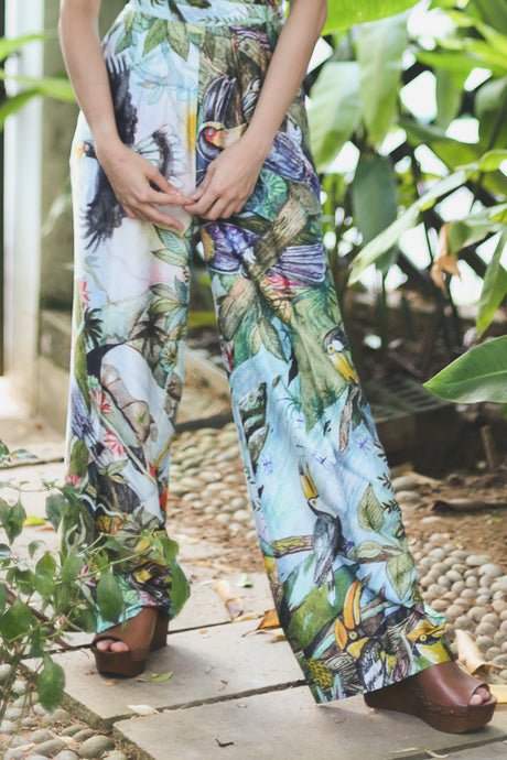 Tropical Toucan Silk Trousers by Indiigo