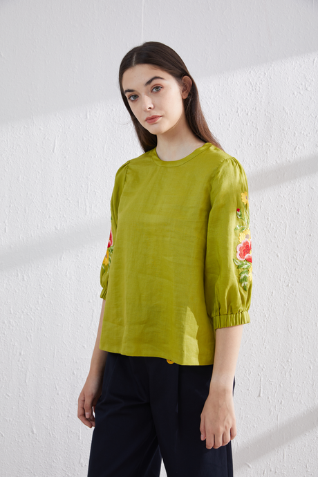 [NEW] Sunny Lime Fleur Embroidery Top by Ja.Socha