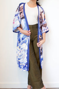 Carp & Waves Silk Robe by Nat