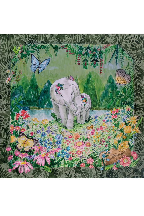 Elephant Motif Silk Scarf by Nat