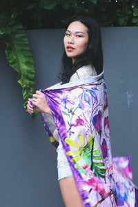 Butterflies & Birds Silk Scarf by Nat