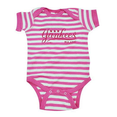 Pulaski Yankees Onesie - Pink Stripes