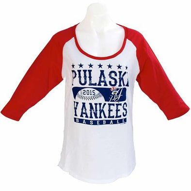 Pulaski Yankees Women's Pulaski Yankees 3/4 Sleeve Shirt - White/Red