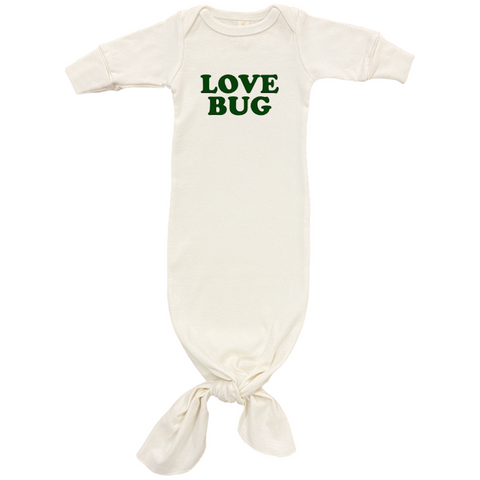 Love Bug - Organic Infant Gown - Olive