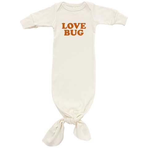 Love Bug - Organic Infant Gown - Rust