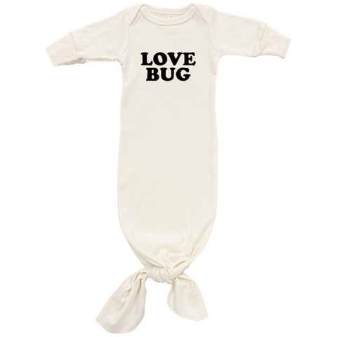 Love Bug - Organic Infant Gown - Black