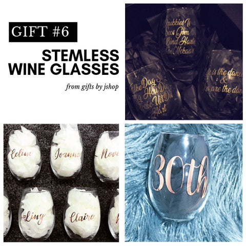 Customised stemless wine glasses for a wedding