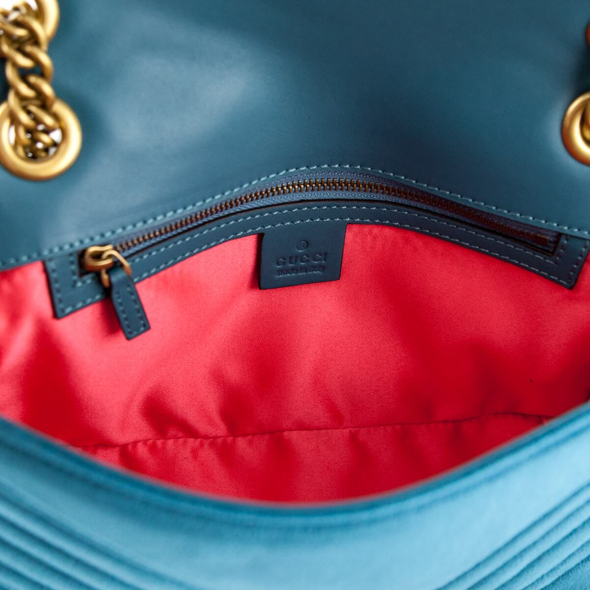 dfd3a559951f67 ... Load image into Gallery viewer, Gucci Petrol Blue Velvet Small GG  Marmont Shoulder Bag ...