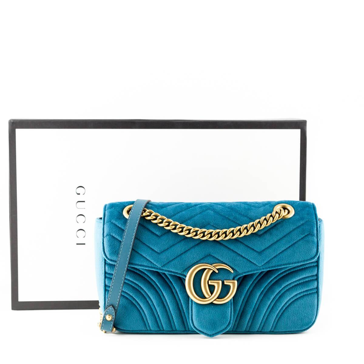 19e35981bcb2 ... Load image into Gallery viewer, Gucci Petrol Blue Velvet Small GG  Marmont Shoulder Bag ...