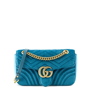 4fed9f061b77 Gucci Petrol Blue Velvet Small GG Marmont Shoulder Bag