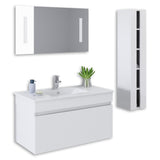 "White 36"" High Gloss Wall Mount Vanity Set"