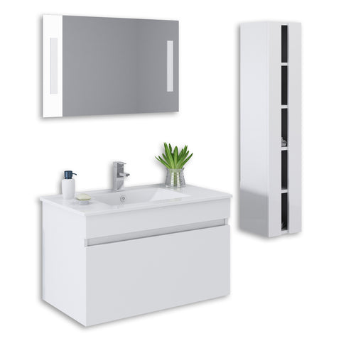 "White 32"" High Gloss Wall Mount Vanity Set"