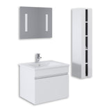 "White 24"" High Gloss Wall Mount Vanity Set"