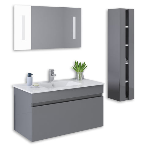 "Grey 36"" High Gloss Wall Mount Vanity Set"