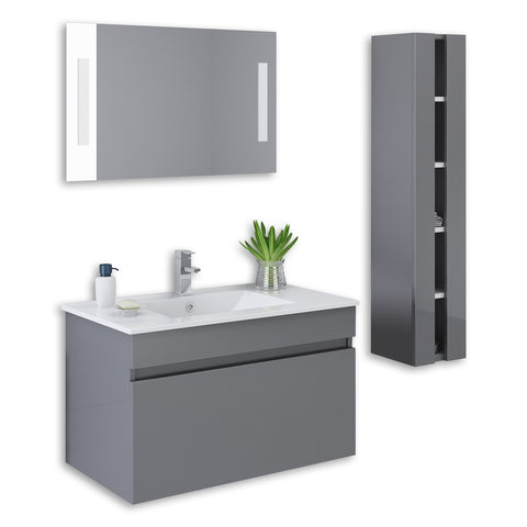 "Grey 32"" High Gloss Wall Mount Vanity Set"