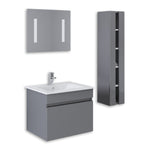 "Grey 24"" High Gloss Wall Mount Vanity Set"