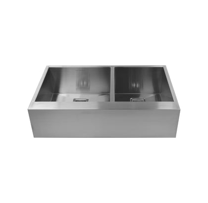 "36"" Double Bowl Flat Bottom Farmhouse Sink"